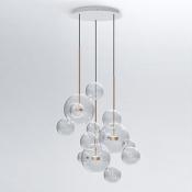 Globe Glass Multi-light Pendant Light  Brass Stem