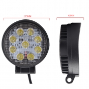 4 Inch Round LED Work Light 27W Cree LED Flood Beam For Off Road 4x4 Jeep Truck ATV SUV Pickup, 2 Pcs