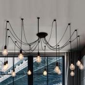 Spider 14 Light Pendant in Black Finished Edison Bulb LED Industrial Metal Pendant Light for Living Room Restaurant