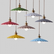 Scalloped Shade Single Pendant Light in Vintage Style for Dining Room Kitchen Restaurant-Blue/Green/Pink/Purple/Red/White/Yellow
