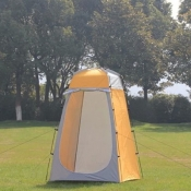 Easy-up Tent Portable Shower Tent for 1 Person Yellow and Grey Coating, 71 Inches High 1.5kg