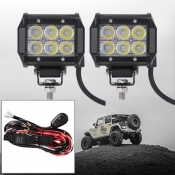 4 Inch Off Road LED Light Bar 18W 30 Degree Spot Beam Car Light For Off Road, Truck, 4WD, BOAT, JEEP, Pack of 2