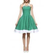 Vintage Polka Dot Pattern Halter Neck Sleeveless Midi Fit Flared Dress