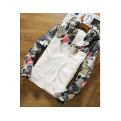 Oversize Casual Hooded Long Sleeve Color Block Floral Printed Zip Up Coat