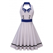 Vintage Halter Neck Sleeveless Fashion Color Block Backless Midi Fit Flared Dress