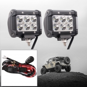 4 Inch Off Road LED Light Bar CREE LED 18W 60 Degree Spot Beam Car Light For Off Road, Truck, 4WD, BOAT, JEEP, Pack of 2