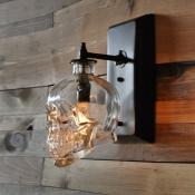 Industrial Wall Sconce Skull, Glass Shade, 1 Light
