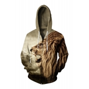 Hot Fashion 3D Lion Pattern Zip Up Long Sleeve Unisex Leisure Hoodie