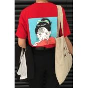Cute Cartoon Girl Pattern Back Round Neck Short Sleeve Casual T-Shirt