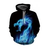 Digital Fire Dragon Pattern Long Sleeve Unisex Hoodie with Pockets