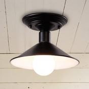 Industrial Semi Flush Mount Lighting in Polished Black