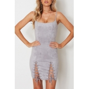 Fashion Lace-Up Hem Spaghetti Straps Sleeveless Plain Mini Bodycon Slip Dress