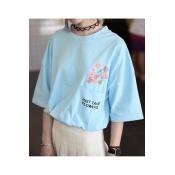 Simple Letter Floral Print Pocket Round Neck Short Sleeve Loose T-Shirt