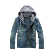 New Arrival Retro Detachable Hooded Long Sleeve Zip Up Denim Coat