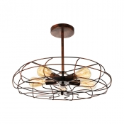 Industrial Fan LED Close to Ceiling Light in Wrought Iron Style