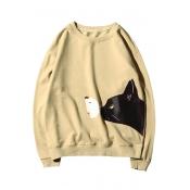 Cartoon Cat Pattern Round Neck Long Sleeve Relaxed Casual Unisex Sweatshirt