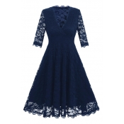 New Arrival Chic Lace Inserted V Neck 3/4 Sleeve Plain Midi Fit Flared Dress