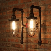 Industrial Wall Sconce Nautical Style with Bronze Metal Cage Frame and Clear Glass Shade