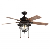 Industrial Fan Ceiling Light Fixture with Seedy Glass