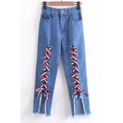 Elastic Waistband Zip Fly Tie Front Frayed Hem Jeans
