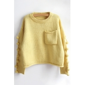 New Fashion Round Neck Embellished Side Long Sleeve Pullover Sweater