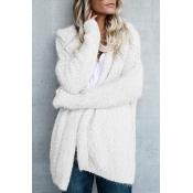 Simple Plain Hooded Long Sleeve Warm Woolen Coat