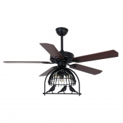 Industrial Fan Ceiling Light Fixture with  Birdcage Shade