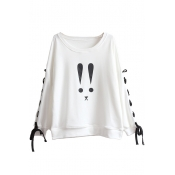 New Fashion Cartoon Print Boat Neck Crisscross Side Long Sleeve Pullover Sweatshirt