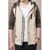 Color Block Drawstring Hooded Zip Up Long Sleeve Leisure Jacket