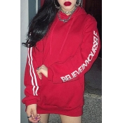 New Leisure Striped Letter Print Long SLeeve Hoodie