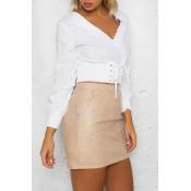 New Stylish Lace-Up Front V-Neck Long Sleeve Simple Plain Cropped Blouse
