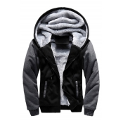 Fashionable Color Block Print Zipper Long Sleeve Unisex Hooded Coat