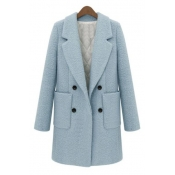 Fashion Double Breasted Notched Lapel Long Sleeve Plain Tunic Coat
