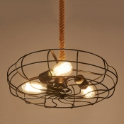 Industrial 14.5''W Fan Chandelier with Hanging Rope, 3 Light
