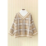 Chic High Neck Plaid Color Block Long Sleeve Pullover Sweater