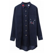 Chic Sweetheart Cat Embroidered Long Sleeves Button Down Tunic Shirt