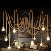 Industrial 10 Light Multi Light Pendant with Hanging Rope in Open Bulb Style