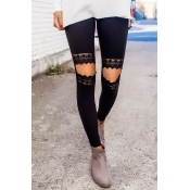 Casual Lace Insert Cutout Hollow Front Slim-Fit High Waist Yoga Workout Pants