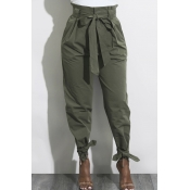 Casual Belted High Waist Bow Ankle Tapered Pants