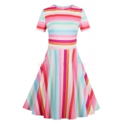 Retro Colorful Striped Print Round Neck Short Sleeve Fit & Flare Dress