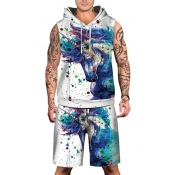 Fashionable Unicorn Painting Print Sleeveless Hoodie with Sports Shorts