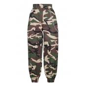 Camouflage Printed Chain Embellished Elastic Waist Loose Pants