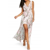 V Neck Sleeveless Floral Printed Split Front Maxi Asymmetrical Dress