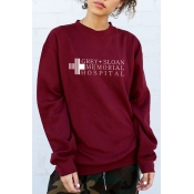 GREY Letter Plus Pattern Printed Round Neck Long Sleeve Sweatshirt