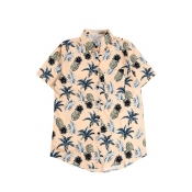 All Over Pineapple Printed Lapel Collar Short Sleeve Button Down Shirt