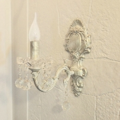 French Wall Light Indoor Kid Living Room Hallway Sconce with Crystal Ball in White Finish