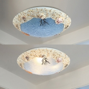 Seashell 3 Light Flush Ceiling Light Mediterranean Children Room Blue Glass Flushmount