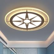 Modern Style Compass Boys Room LED Flush Ceiling Light Ultra-Thin