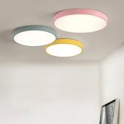 Macaron Modern Round Flushmount Children Room Metal LED Ceiling Flush Mount in Green/Pink/Yellow