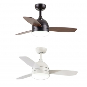 Wood And Metal Living Room LED 16.54'' W Ceiling Fan Mount with Lights in White/Satin Black